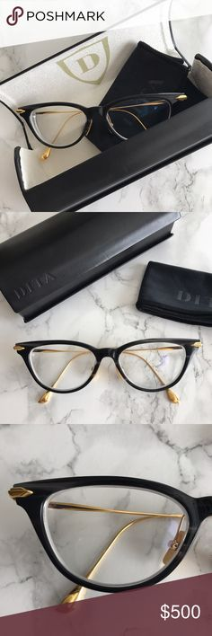 DITA VIDA Cat Eye Eyeglasses Smoke Crystal Black Super chic, vintage-inspired acetate frames with 18k gold plated titanium arms & luxe details. Custom metal nose pads by DITA (Asian nose bridges - fear not!). I wore these for about a month, but I just don't love them on me. I tried to make them work by sending them back to add the nose pads but I think these are for someone else. My high Rx lenses are in them - you can take these to an optometrist to get new lenses. Comes with original hard…