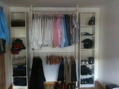 Quick and easy wardrobe - IKEA Hackers Same type of idea, just more storage areas then sliding doors in front