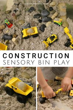 It's easy to make a construction sensory bin when using kinetic sand. Simply mix it with some loose parts and add construction vehicles, and it's ready to go! #sensorybin #construction #finemotor #toddlers #preschool #classroom #teachers #homeschool #play #AGE2 #AGE3 #AGE4 #teaching2and3yearolds