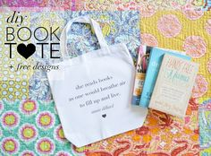 202a7c07d7e93 DIY Book Tote with free printable designs (designs  she reads books quote
