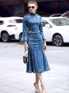 New Womens Denim Slim Cheongsam Collar Flared Sleeve Mermaid Dress Jeans Skirts Mode Outfits, Chic Outfits, Denim Outfits, Looks Total Jeans, Denim Fashion, Womens Fashion, High Fashion, Denim Ideas, Creation Couture