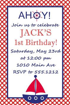 Nautical Birthday Party Invitation: Printable 4x6 or 5x7
