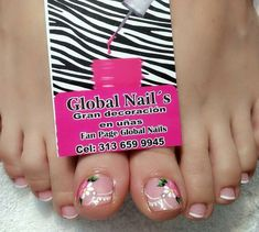 Cute Pedicure Designs, Toe Nail Designs, Hair Designs, Toe Nail Art, Easy Nail Art, Mani Pedi, Manicure And Pedicure, Purple And Pink Nails, Feet Nail Design