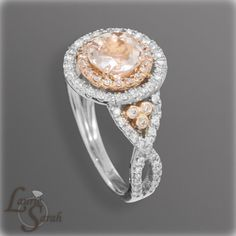 14kt Rose Gold Morganite and Diamond Engagement Ring - Two Tone Gold with twisted shank - LS2242