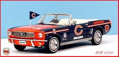 1966 Ford Mustang, decorated in Chicago Bears accessories. I think this is my husbands dream.