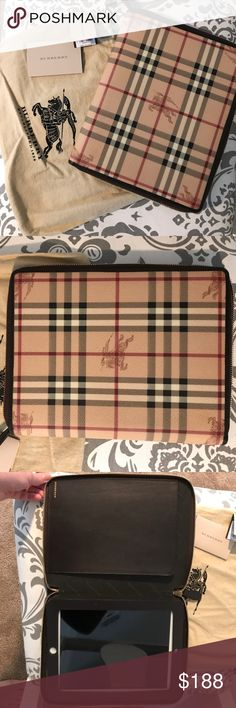Authentic Burberry Haymarket Print iPad case Gorgeous Haymarket iPad case that is barely used! Fits traditional iPads (one in the case is a 4th generation with a protective silken back and still fits! Comes with dust bag, authenticity card, and price tag. No stains, a few scuffs on interior leather. Retired product that retails at $375! Burberry Accessories Laptop Cases