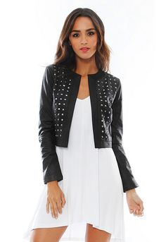 Blakely Cropped Leather Jacket with Studs in Black - designed by BB Dakota