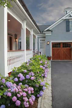Hydrangeas as foundation plantings around the covered front porch.