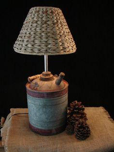 Vintage Kerosene Can Lamp with Seagrass Shade - Love this idea!