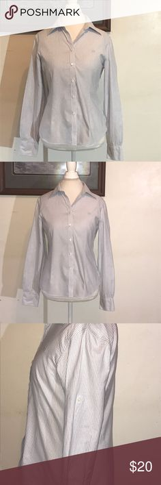 """Brooks Brothers 346 blue&white long sleeve shirt Blue and white fitted striped shirt. Can be worn with sleeves down or rolled and buttoned up. Sleeves shoulder to cuff hem 24"""". Shoulder to shoulder on dress form 17"""". Brooks Brothers Tops Button Down Shirts"""