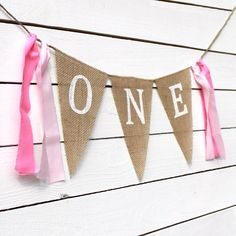 Shabby Chic Birthday Burlap Banner Photography Prop Baby Shower Decoration