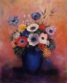 Bouquet of Flowers in a Blue Vase - Odilon Redon - WikiArt.org