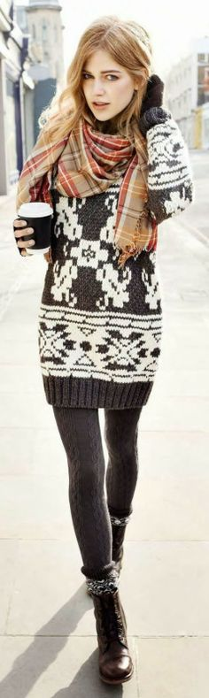 Knitted Sweater, Leggings & Scarf | #Prafful @ www.prafful.com
