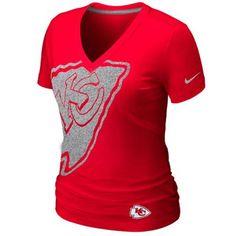 #Fanatics Nike Kansas City Chiefs Ladies Tri-Blend Reverse Logo T-Shirt - Red