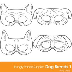 Dog Breed Printable Coloring Masks, boston terrier mask, pug mask, bulldog mask, french bulldog mask, dog mask, puppy mask, dogs coloring