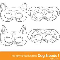 Dog Breed Printable Coloring Masks, boston terrier mask, pug mask, bulldog mask, french bulldog mask, dog mask, puppy mask, dogs coloring