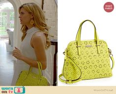 Paige's yellow perforated handbag on Royal Pains.  Outfit Details: http://wornontv.net/36460/ #RoyalPains
