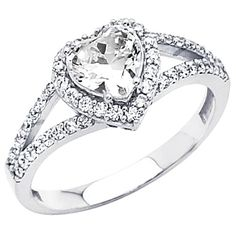 Sterling Silver Heart-cut CZ Cubic Ziconia Solitaire with side-stone Ladies Wedding Engagement Ring Band (Size 5 to - Size (sterling silver rings) Heart Engagement Rings, Buying An Engagement Ring, Halo Engagement, Heart Wedding Rings, Bridal Rings, Wedding Band, Bling Bling, Heart Shaped Rings, Heart Rings
