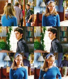 Jess looking cute! Gilmore Girls season 2 - Jess and Rory! Milo Ventimiglia and Alexis Bledel.