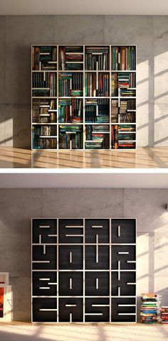 "Read Book Shelf read bookshelf- literally spells the word ""read"" on the wall"