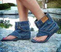 . . . . . How to Recycle: Cool Recycled Denim Sandal Boots