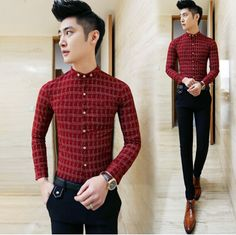 2015 New Club Office Casual Sexy Shirts Vintage Plaid Shirts 3 Colors Free Shipping A40