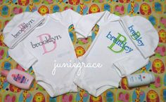 Personalized Twin Boy and Girl Baby Bodysuit / Gown Layette Set - Coming Home Outfits Newborn -6 months by juniegrace on Etsy https://www.etsy.com/listing/212353034/personalized-twin-boy-and-girl-baby