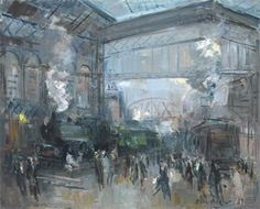 huariqueje:    Gare du Nord   -  Roger Bertin French 1915-2003 Oil on canvas,    64.5 x 81 cm. (25.4 x 31.9 in.)