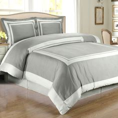 Gray Light Gray Hotel Queen Duvet Style Comforter Set Egyptian Cotton | FREE SHIPPING