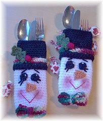 crochet christmas silverware holders - Google Search