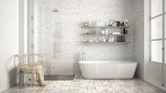 Guest Bathroom Remodel, Guest Bathrooms, Bathroom Renovations, Modern Bathrooms, Shower Floor Tile, Bathroom Floor Tiles, Bathroom Shelves, Ceramic Tile Bathrooms, Best Bathtubs