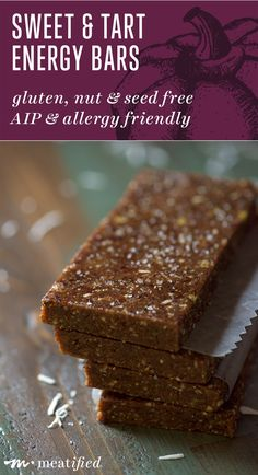 """These AIP energy bars are both nut & seed free, so they're allergy friendly & the perfect """"on the go"""" food! Easy to make, with no added sweeteners 