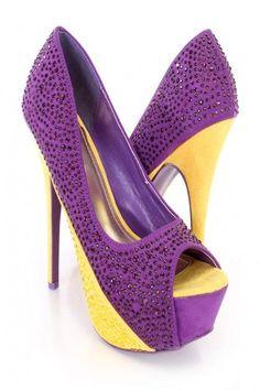 Carved Design Purple Heel