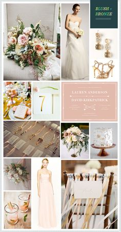 REVEL: Blush + Bronze + Ivory Wedding Inspiration. Gotta work in odd numbers when color scheming and decorating.