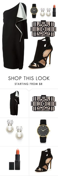"""Black and White Cocktail Dresses"" by asubtil ❤ liked on Polyvore featuring Chloé, Chanel, Judith Jack, Larsson & Jennings and Barry M"
