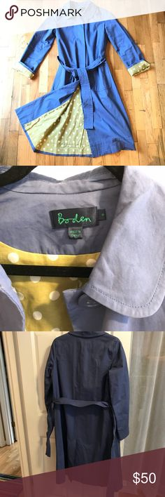 """Boden Button Up Collared Trench Size 8 This lovely trench is in the loveliest shade of purplish blue (periwinkle?) It makes me think of spring! Possibly layered over an Easter dress? Just thinking to the holidays ahead!  100% cotton trench lined with olive green and white polka dots. Front pockets, tie belt. 42"""" from shoulder to bottom of jacket. In excellent condition Boden Jackets & Coats Trench Coats"""