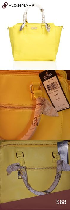 BCBG Paris scarf story Satchel Soft, polyurethane, looks like creamy, yellow leather. Gold hardware. Detachable , wide shoulder strap. Never used NWT.  This bag is absolutely gorgeous!! BCBG Bags Satchels