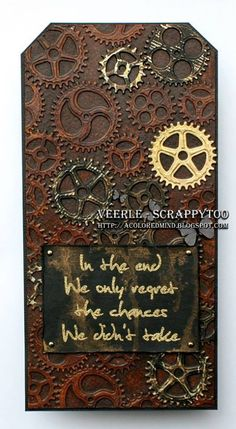 Visible Image stamps - Take Chances - mixed media tag - Veerle Moreels 2