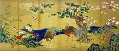Kano Eitoku Título: Pájaros y flores. Hakutsuru Fine Art Museum . Kobe, Japón. Medidas: 164.5 x 359.0 cm Fuente: http://commons.wikimedia.org/wiki/File:Kano_Eitoku_006.jpg