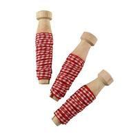 Textilband Smal Ruta Röd/Vit 2 Meter