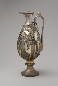 Ewer with dancing females within arcades, ca. 6th–7th century A.D. Iran, Sasanian. Silver, mercury gilding. The Metropolitan Museum of Art, New York,