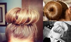 the sock bun. Cut the toe part of the sock off.  roll it down, till its in a doughnut shape.  pull your pony tail through it.  spread your hair evenly.  Tuck and Pin.  Or you can but these hair forms from me.  Just saying!