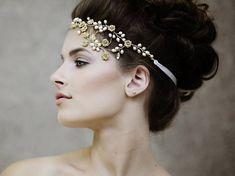 """The Leilani Couture"" Bridal Headpiece/Headband by GadegaardDesign Etsy listing at https://www.etsy.com/listing/189940256/rustic-wedding-headpiece-crystal-bridal"