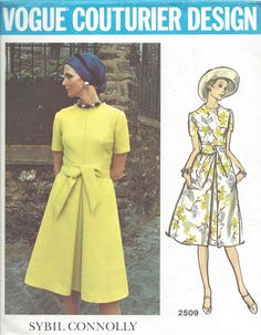 1960s Vintage VOGUE Sewing Pattern B36 DRESS (1031) By Sybil Connolly