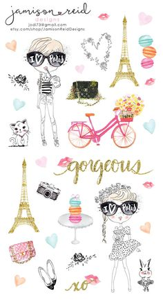 Je'taime Paris planner stickers | Kate Spade | Filofax | MAMBI | Erin Condren | Happy Planner