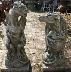 Dragon ornaments in stone for the garden. I will gladly accept these to make up for alllll of the birthdays you may have missed.