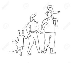 Continuous Line Parents Walking with Children. One Line Happy. - Continuous Line Parents Walking with Children. One Line Happy Family. Family Drawing, Teen Humor, Continuous Line, Visualisation, Happy Family, Line Drawing, Line Art, Illustration, Vector Free