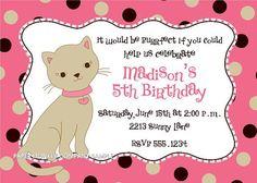 Cute Kitten Birthday Invitations