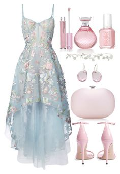 """""""Untitled #4619"""" by natalyasidunova ❤ liked on Polyvore featuring Notte by Marchesa, Swarovski, Jeffrey Levinson, Gucci, Essie, Paris Hilton, Elise Dray and Victoria's Secret"""