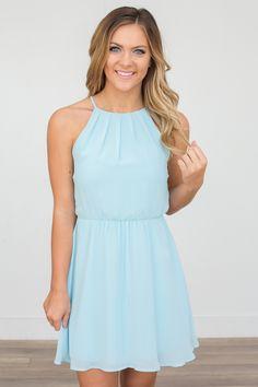 Sleeveless Open Back Dress - Aqua - Magnolia Boutique